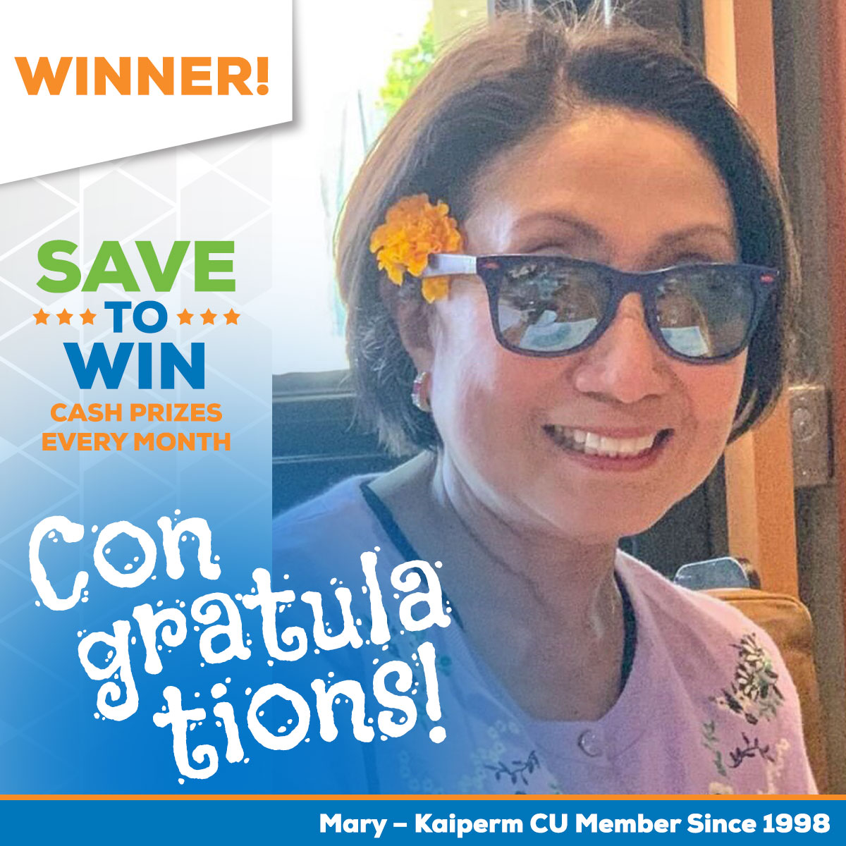 Save to Win Winner Mary