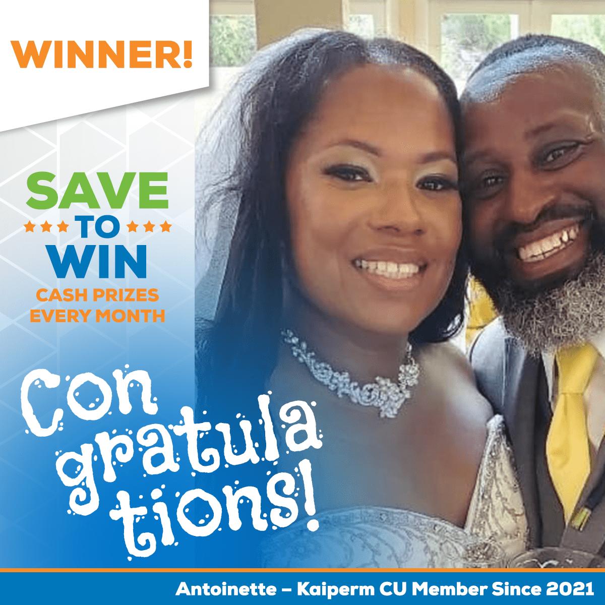 Save to Win Winner Antoinette